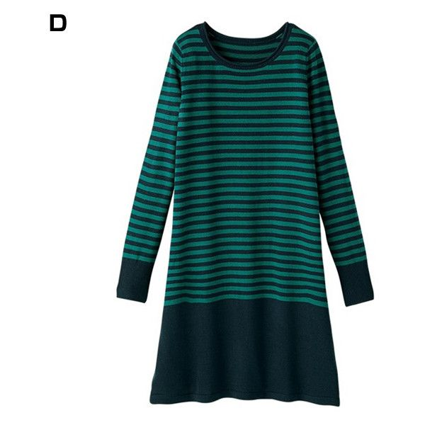 [RyuRyu] Washable Cashmere-Touch Bi-Color Dress Fall 2016 New Item,... (1,430 INR) ❤ liked on Polyvore featuring dresses, stripe dresses, blue dress, striped dress, ryuryu and low waist dress