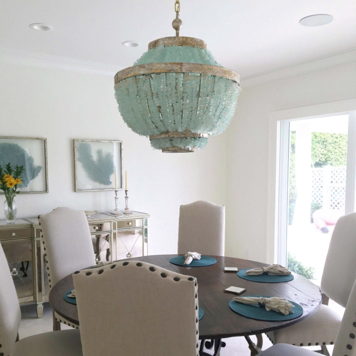 Au Courant Interiors - Coastal Beaded Chandeliers Casual Luxury Interior