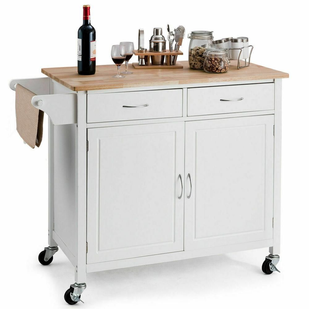 Costway Modern White Kitchen Cart With Natural Wood Top Hw59426wh The Home Depot In 2020 White Kitchen Cart Kitchen Island Storage Rolling Kitchen Cart