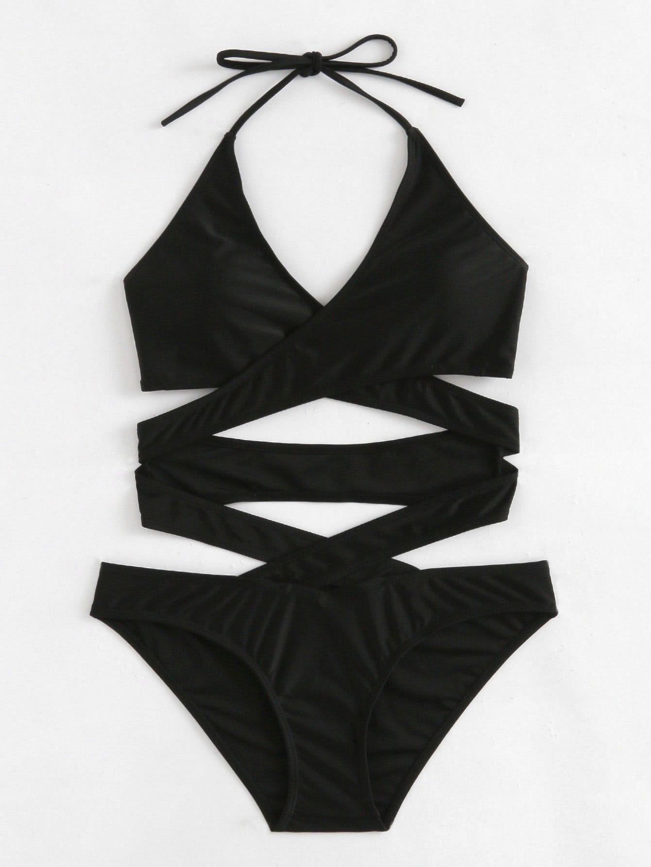 7b129a6d9ed Shop Criss Cross Wrap Swimsuit online. SheIn offers Criss Cross Wrap ...