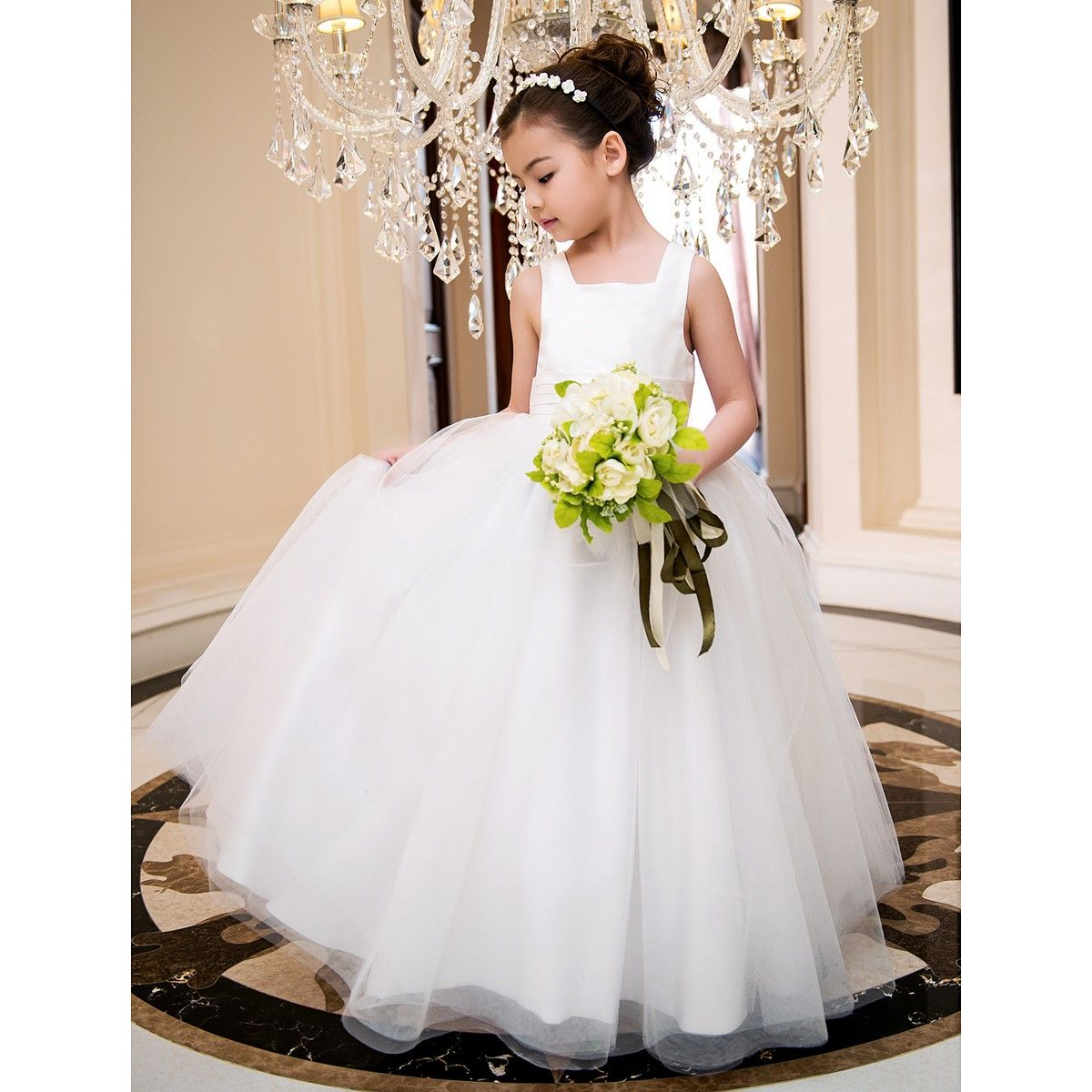 A-line Square Ankle-length Satin And Tulle Wedding/Party ...