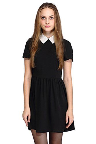 POGT Women's Halloween Costumes Dress Wednesday Addams Co…
