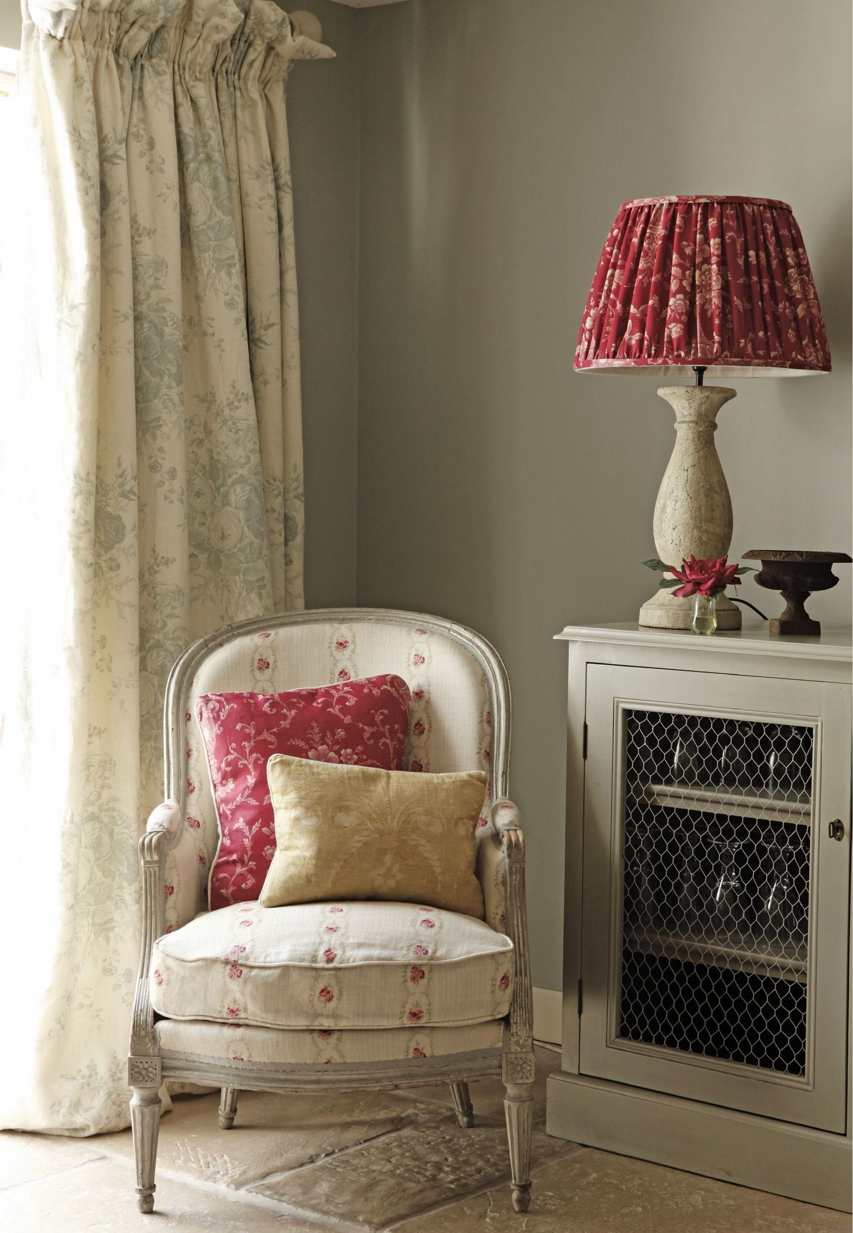 love 5this idea for a salon reception area. reupholster and pleat a cheapy thrift store lamp to match throw pillows.