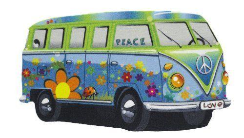 hippi hippie bus auto l ufer peace bus teppich konturenschnitt l ufer bus fu matte. Black Bedroom Furniture Sets. Home Design Ideas
