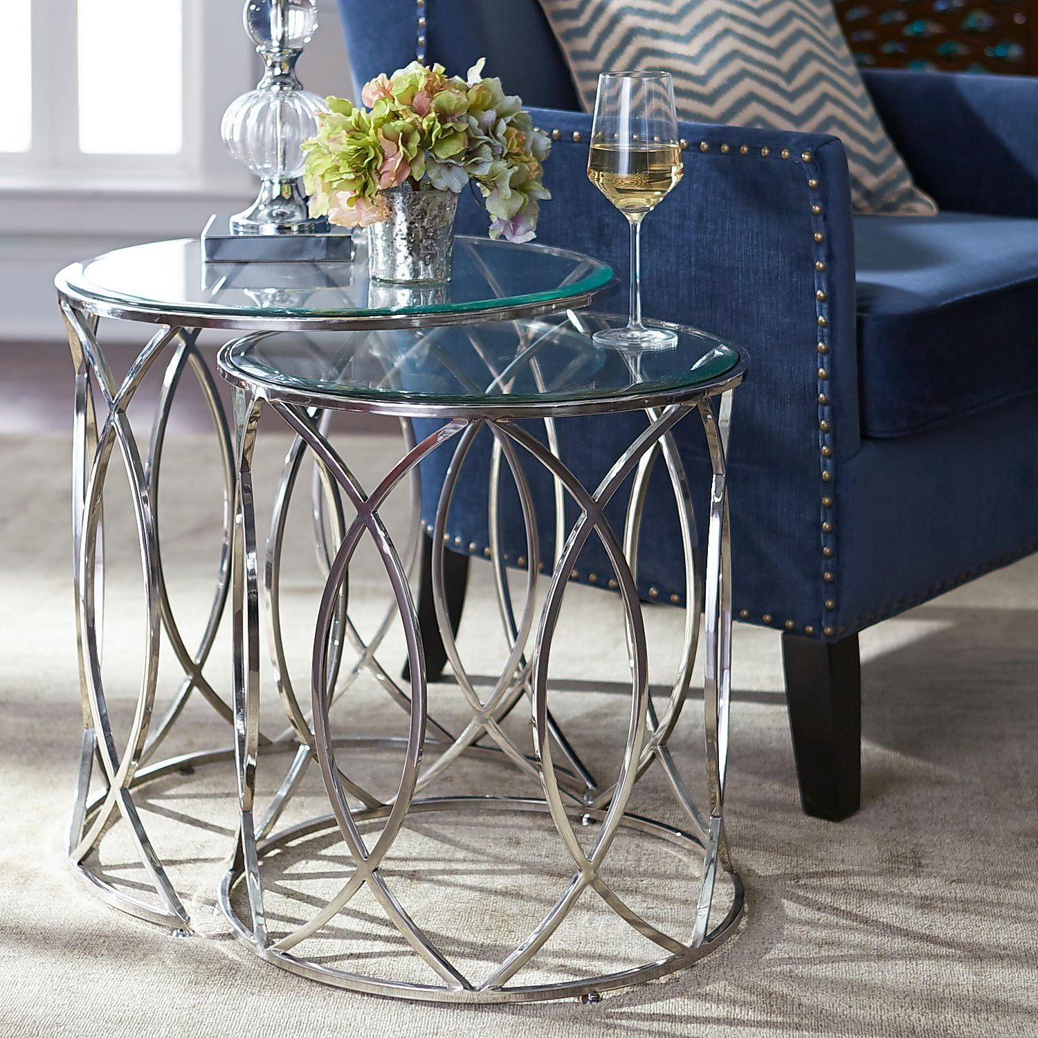 Elana Silver Stainless Steel Round Nesting Tables Nesting Tables