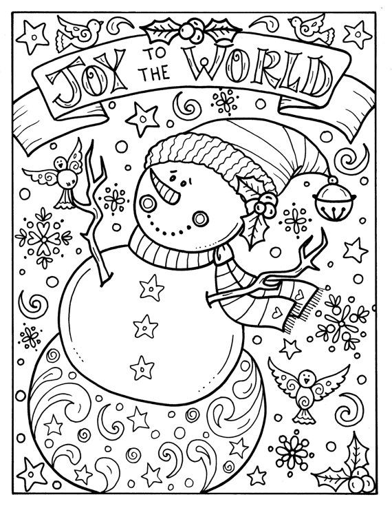 snowman joy to the world digital download christmas coloring adult holidays animals