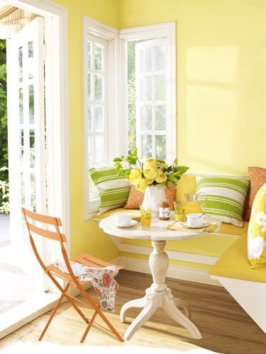 11 Smart Ways To Brighten Your Home With Color Bright Decor Yellow Room Dining Nook