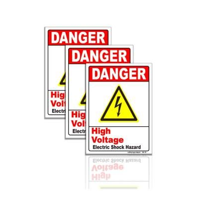 Safetysignsdepot 5 In X 6 5 In Danger High Voltage Electrical Shock Hazard Sign Stickers 3 Pack White Sign Materials Vinyl Signs High Voltage
