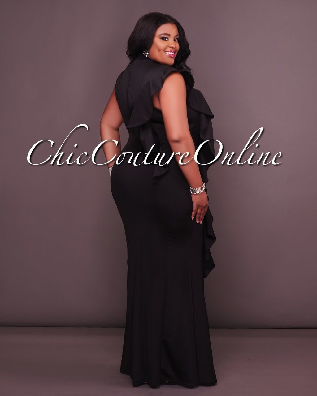 Chic couture online veronika curvaceaous black ruffle side midi