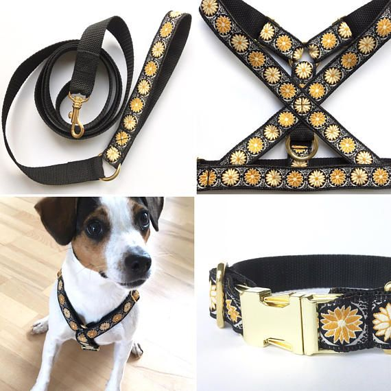 S Xl Dog Harness Golden Lotus Woven In Orange Yellow Black And