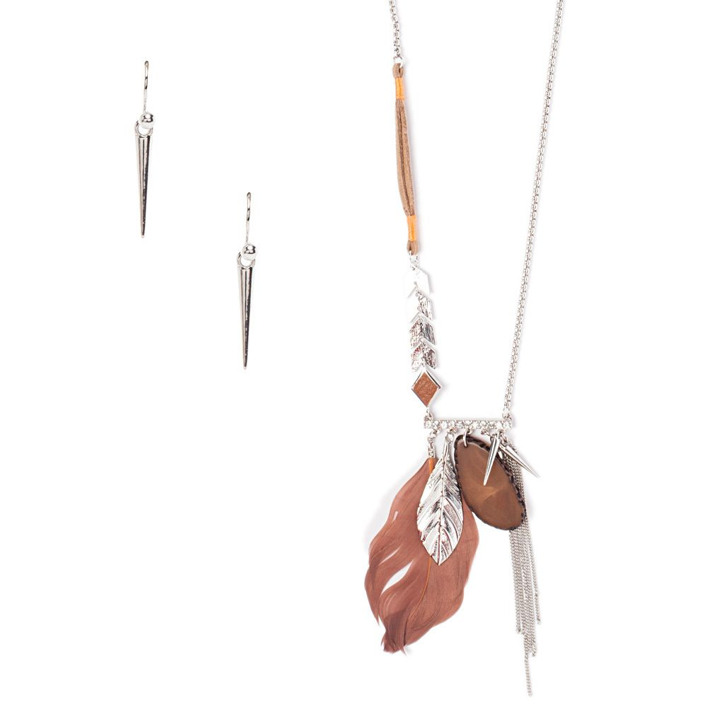 Rain feather necklace u earring set brown up to off jewelry
