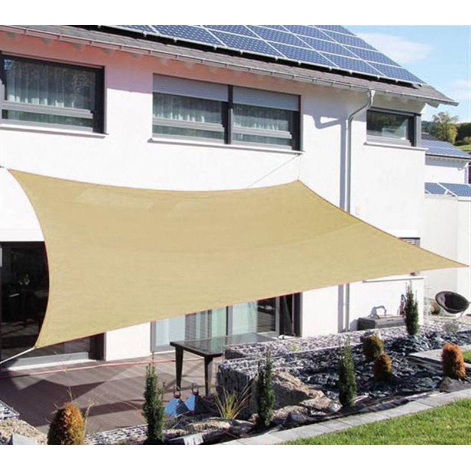 sale retailer 8249c f0692 Outsunny Rectangle Outdoor Sun Shade Sail Canopy - Sand ...