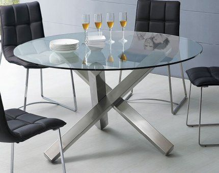 Round Glass Dining Table with Unique Metal Base | Glass ...