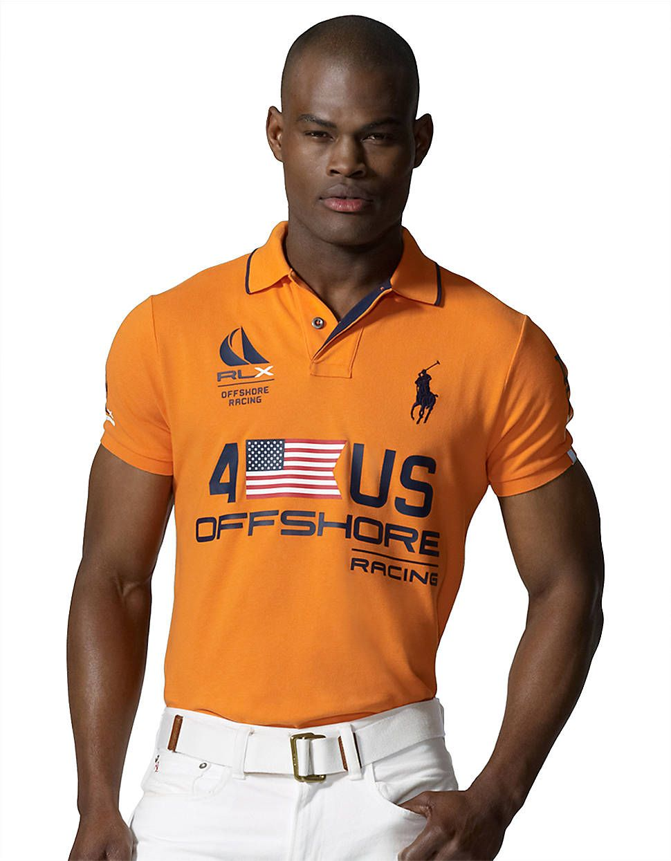 21c4b957523f Polo Ralph Lauren Rlx Short-sleeved Usthemed Offshore Racing Mesh Polo in  Orange for Men