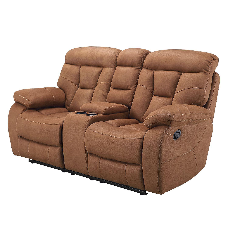 Sofa Hankey (2-Sitzer mit Relaxfunktion) - Microfaser - Hellbraun ...