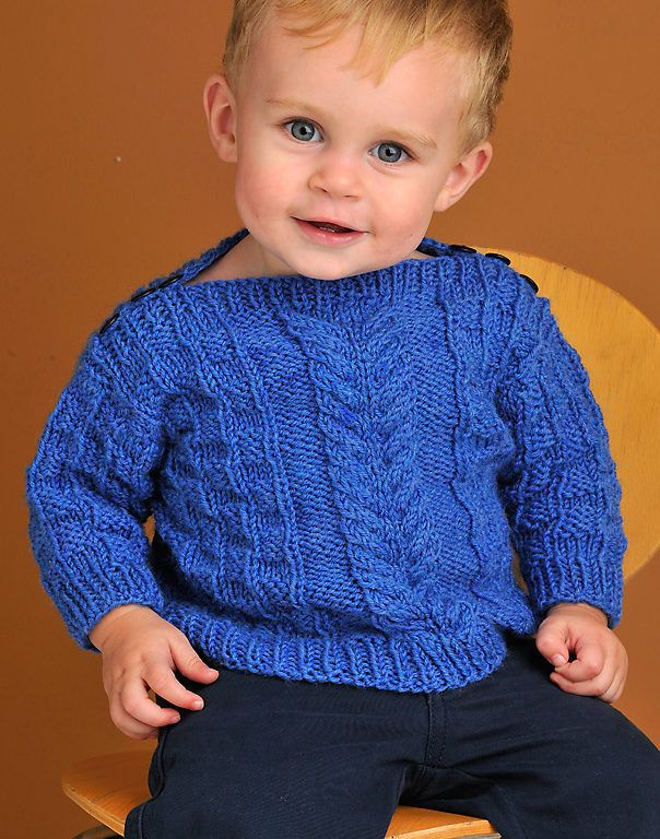 f4db7739388b8e Knitting Pattern for Baby Boatneck Pullover - This sweater features a cozy cable  pattern and buttons at the shoulders for easy dressing. Sizes Chest 22 (24