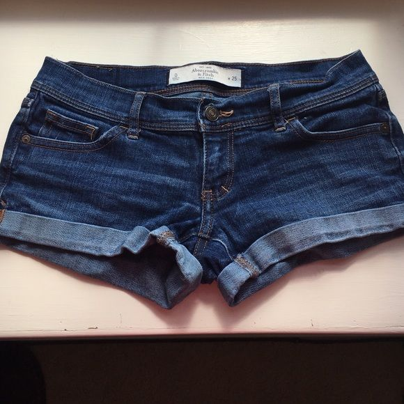 Abercrombie & Fitch denim shorts- Size 0 Abercrombie & Fitch denim shorts. Rolled hem does not unroll. Size 0/ 25. Great condition just no longer fit! Perfect for Summer! Abercrombie & Fitch Shorts Jean Shorts