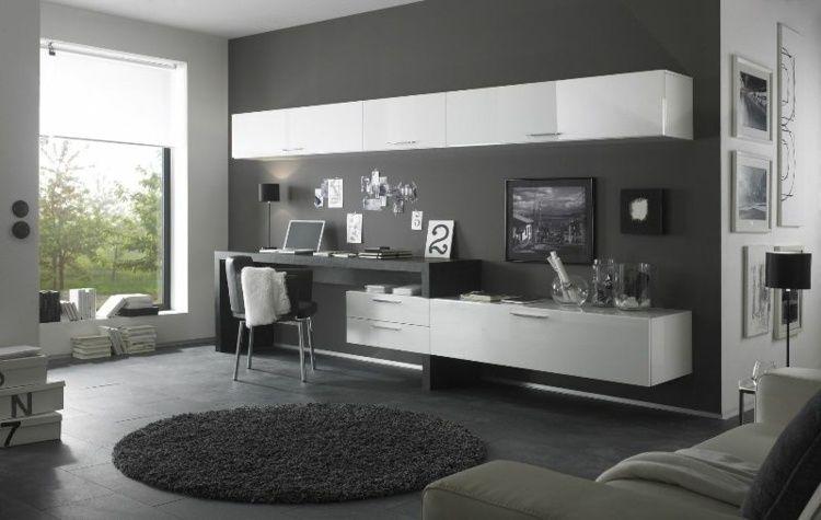 wohnwand design mit schreibtisch und schr nken zuk nftige projekte pinterest wohnzimmer. Black Bedroom Furniture Sets. Home Design Ideas