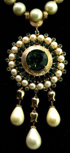 Vtg Philippe Trifari Pearl Emerald Rhinestone Triple Drop Goldplated Necklace | eBay