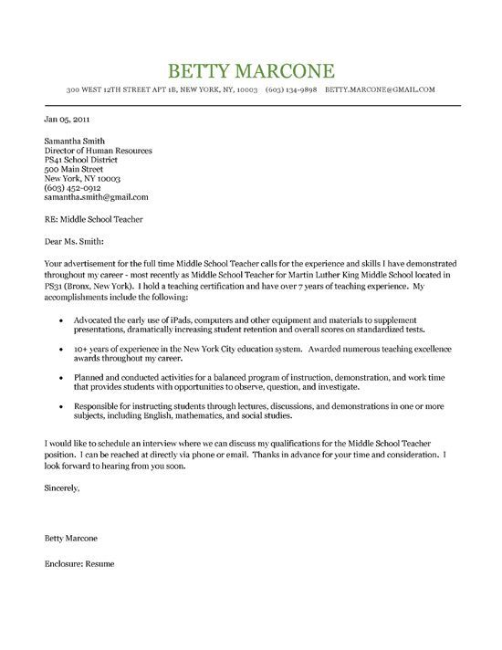 Middle School Teacher Cover Letter Example Cover letter example - cover letter definition