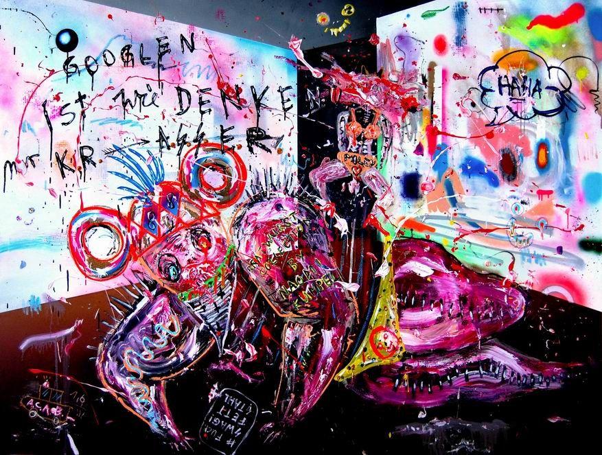 HINTERWELT GETRIEBEN VON KINDERGELD 2014, mixed media on canvas, 150x200cm [Expressionism-A1099] - $500.00 painting by oilpaintingsartmaker.com