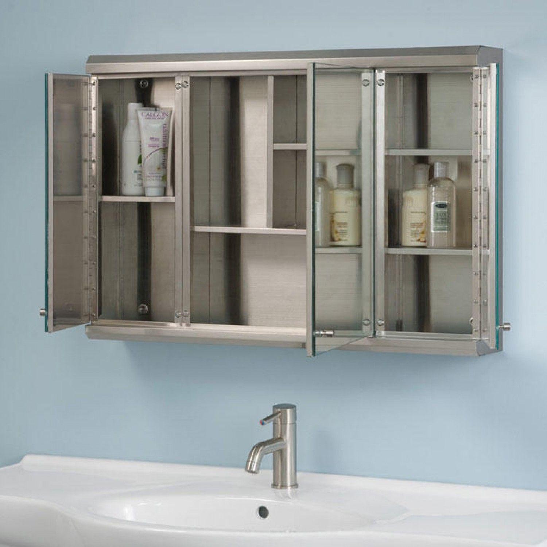 Cosmopolitan Stainless Steel Tri View Medicine Cabinet In 32