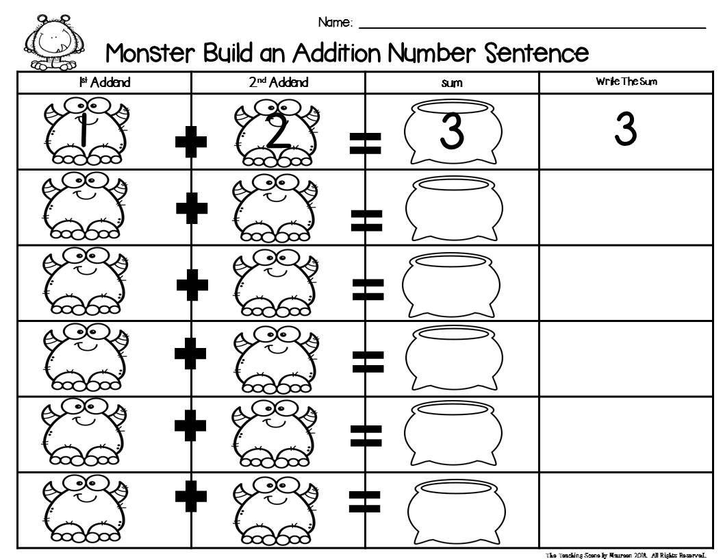 Monster Build 2 Addend 0 20 Addition Amp Subtraction Number