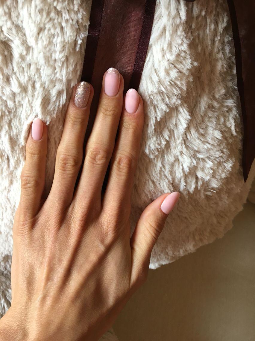 Opi Bubble Bath baby pink glitter oval nails | Liya`s nails (mine ...