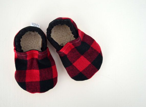 7a603b56f6464 Two Little Beans & Co. - Baby Booties - Red Buffalo Plaid Flannel ...