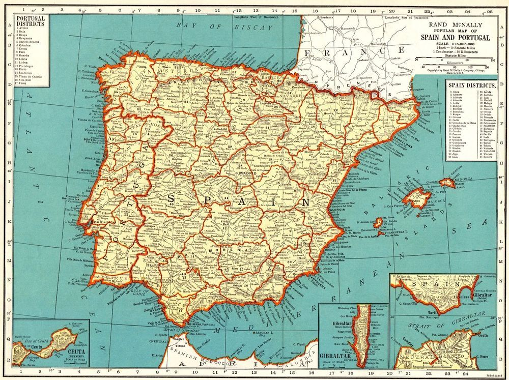 Map Of Spain For Sale.1939 Vintage Map Of Spain And Portugal Collectible Antique
