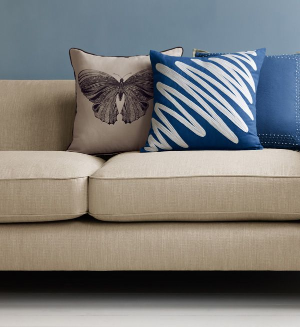 Blue sofa and Cushions