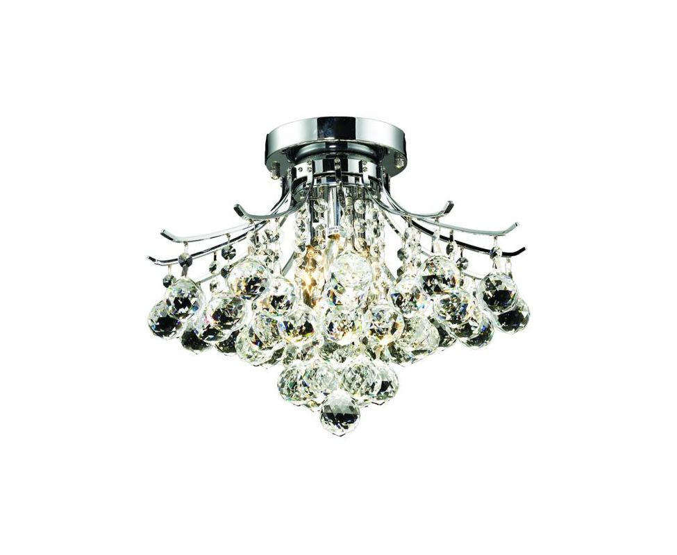 Elegant Lighting 8000F16C Toureg 3-Light Single-Tier Flush Mount Crystal Chande Royal Cut Clear Crystal Indoor Lighting Ceiling Fixtures Flush Mount