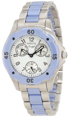 Invicta Womens 1652 Angel White Dial Blue Ceramic and Watch ** Want additional info? Click on the image.