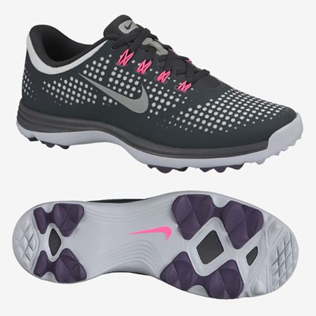 Nike Lunar Empress Women S Spikeless Golf Shoes Grey Pink 1244127 From Golfskipin Golf Fashion Golf Wear Womens Golf Fashion