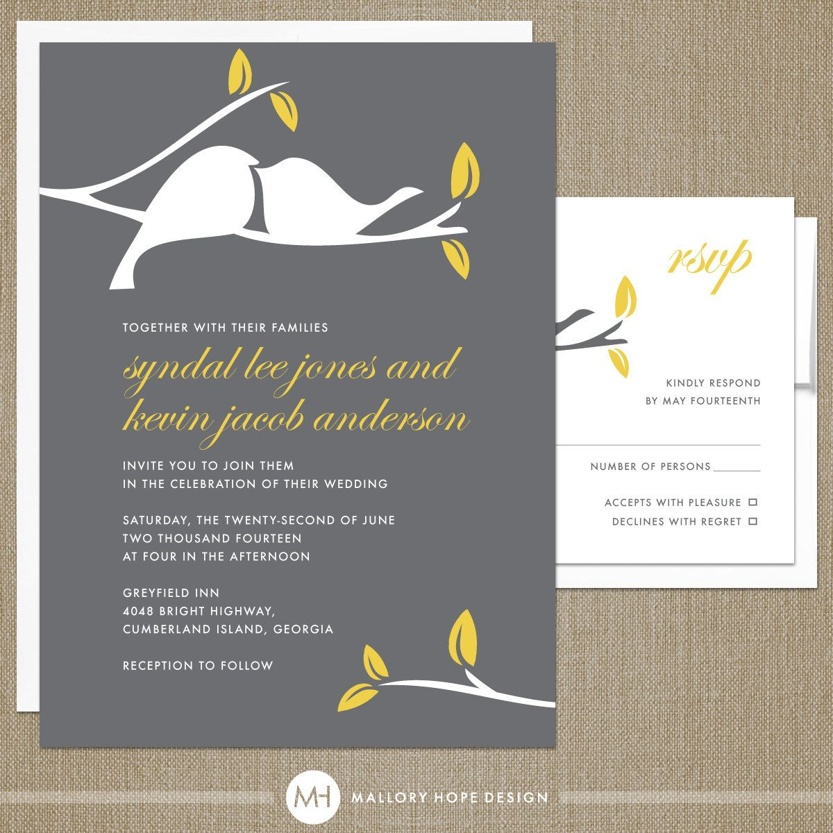 Love Birds Modern Wedding Invitation & RSVP (DIY / PRINTABLE ...