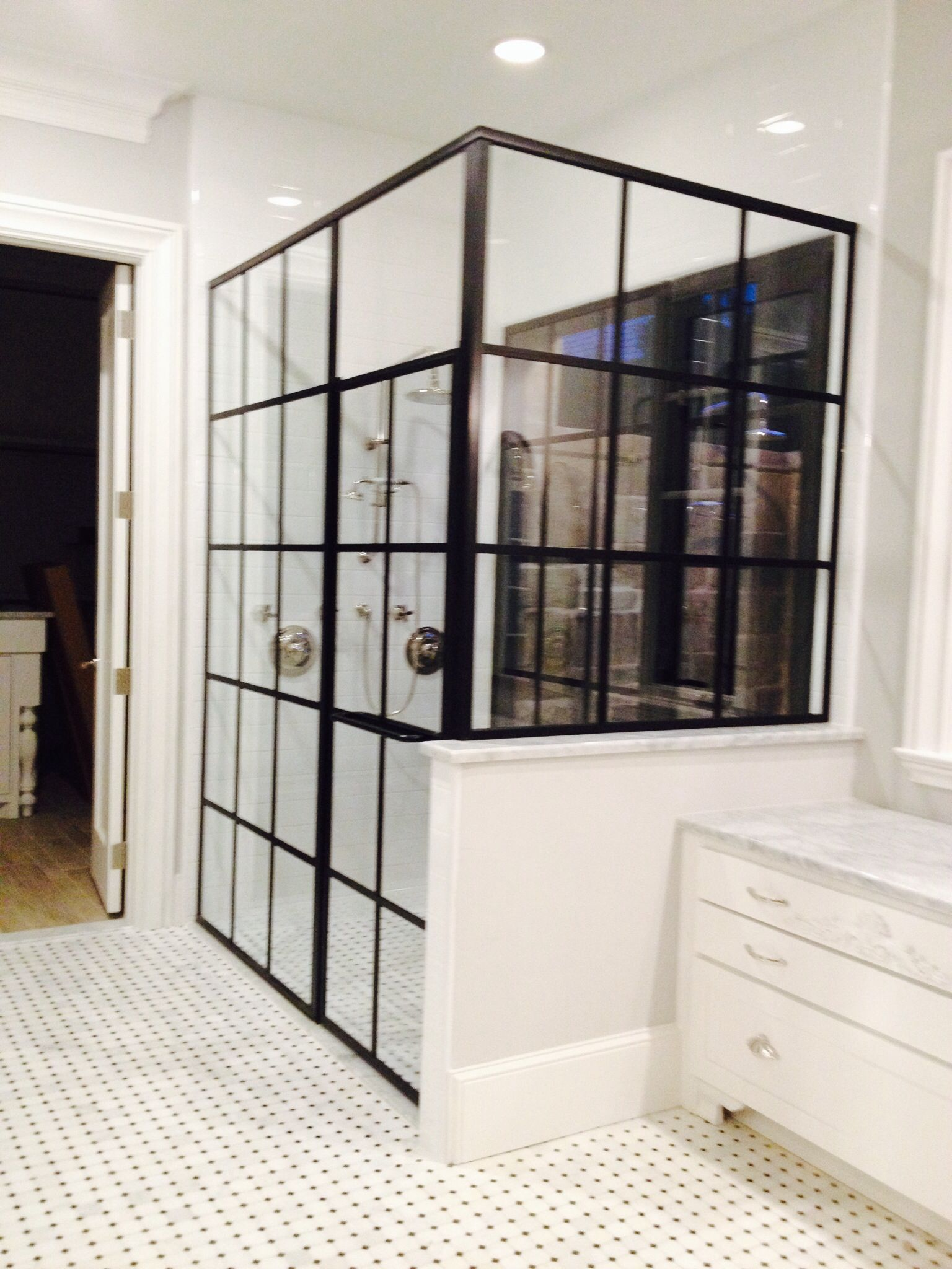Framed Shower With Cross Bars To Match The Store Front