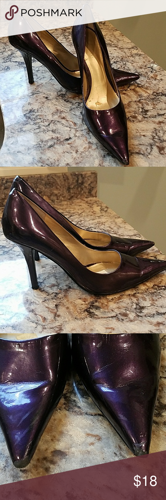 """Nine West Heels This is a pr of beautiful purple heels.  This is a 3"""" heel and in gently worn condition...see pics above. Nine West Shoes Heels"""