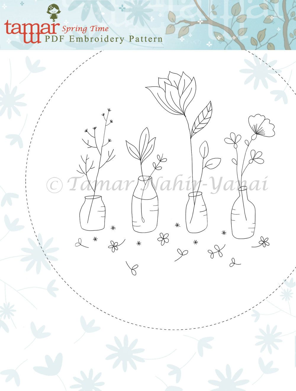Embroidery Pattern, PDF Pattern, Instant Download - Spring Time ...