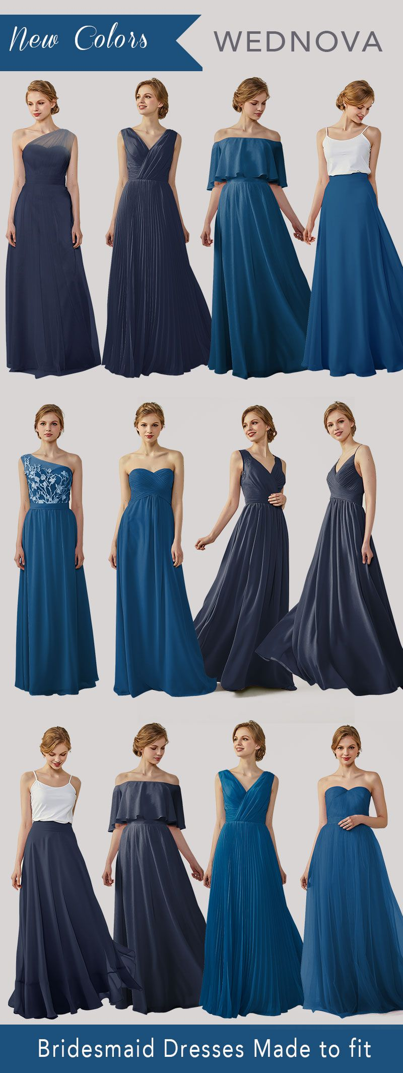 Ink blue bridesmaid dresses off the shoulder dresses boho v neck
