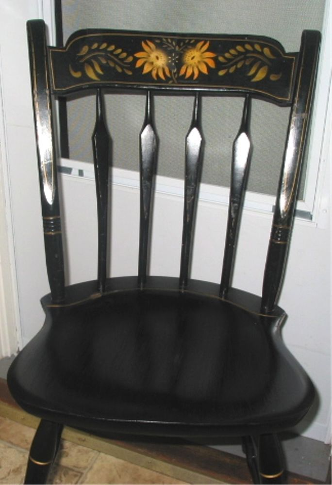 Vintage S. Bent Bros Wood Black Hitchcock Style Harvest Stencil Arrow Back  Chair #Country