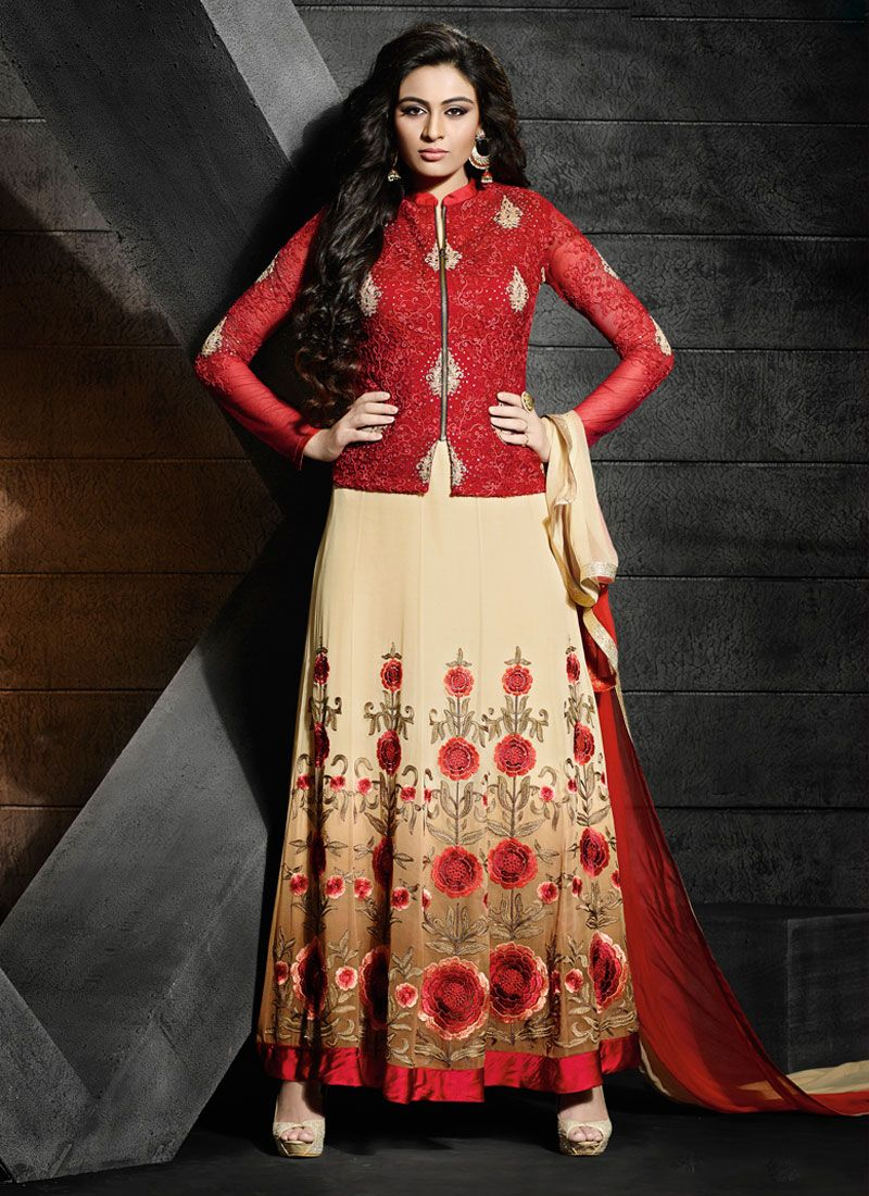 http://www.sareesaga.com/index.php?route=product/product&product_id=21274 Work	:	Embroidered Resham Work	Style	:	Salwar suit Shipping Time	:	10 to 12 Days	Occasion	:	Party Festival Fabric	:	Georgette	Colour	:	Red For Inquiry Or Any Query Related To Product,  Contact :- +91 9825192886