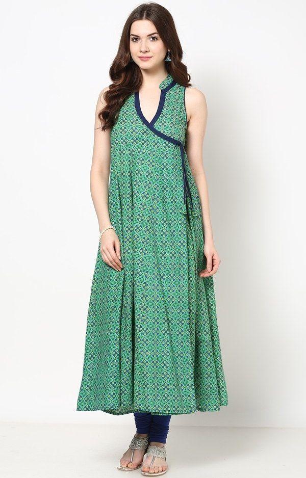 Bimba Women/'s Teal Green Designer Tunic Printed A-Line Kurti Kurta Dress