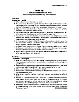literature circle questions for rules by cynthia lord school