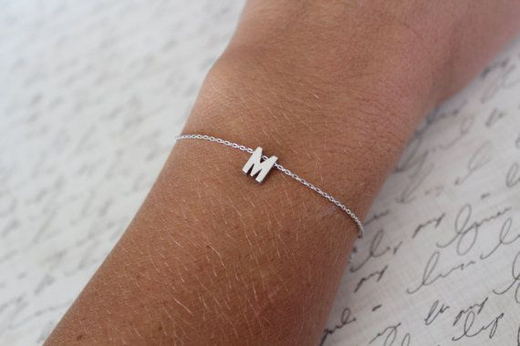 Tiny Silver Initial Bracelet Small By Brinandbell 12 00 Would Love To Have Both Boys Initials And A Heart