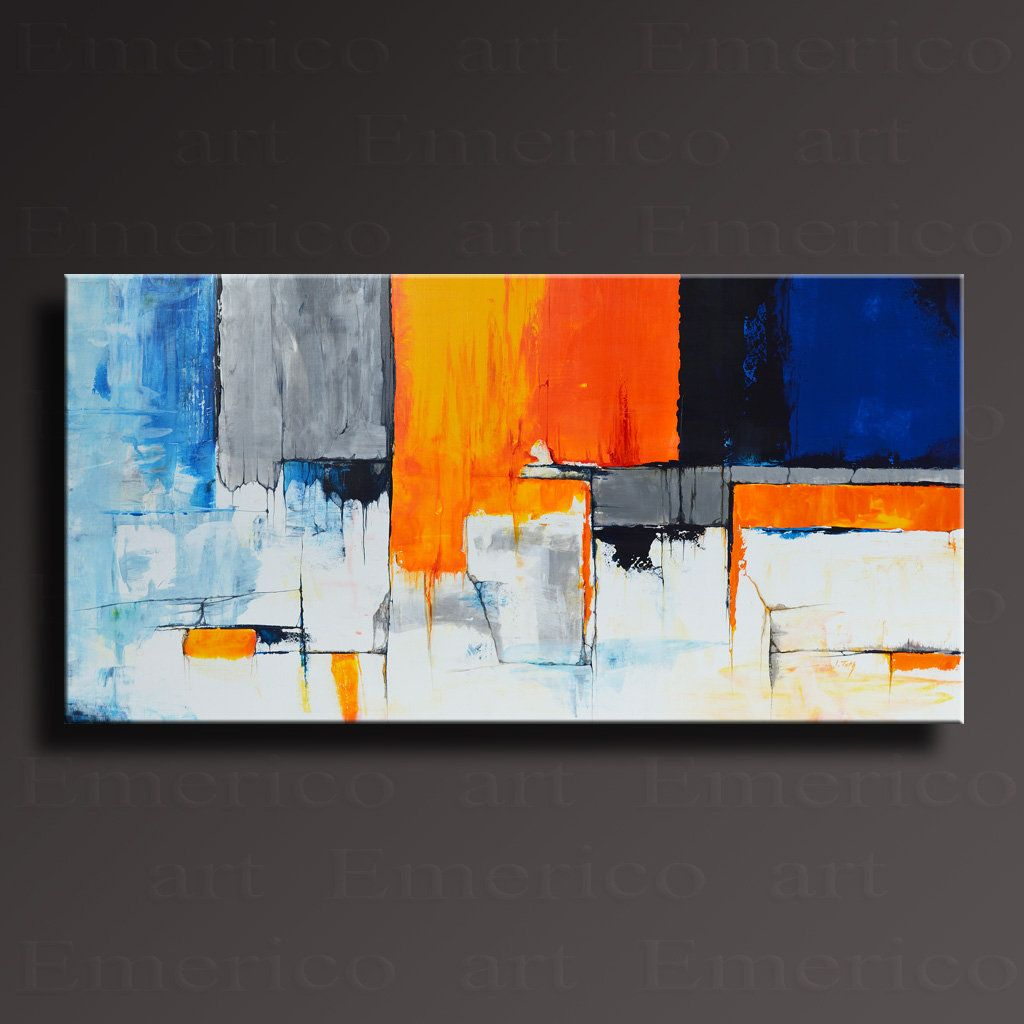 Abstract Painting Blue Yellow Orange Gray White Painting Etsy Canvas Art Painting Contemporary Art Canvas Abstract Art Painting