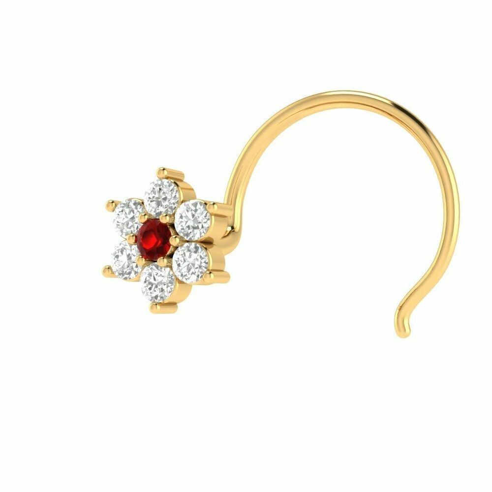 100 Real Diamonds Ruby Flower Engagement Nose Ring Piercing