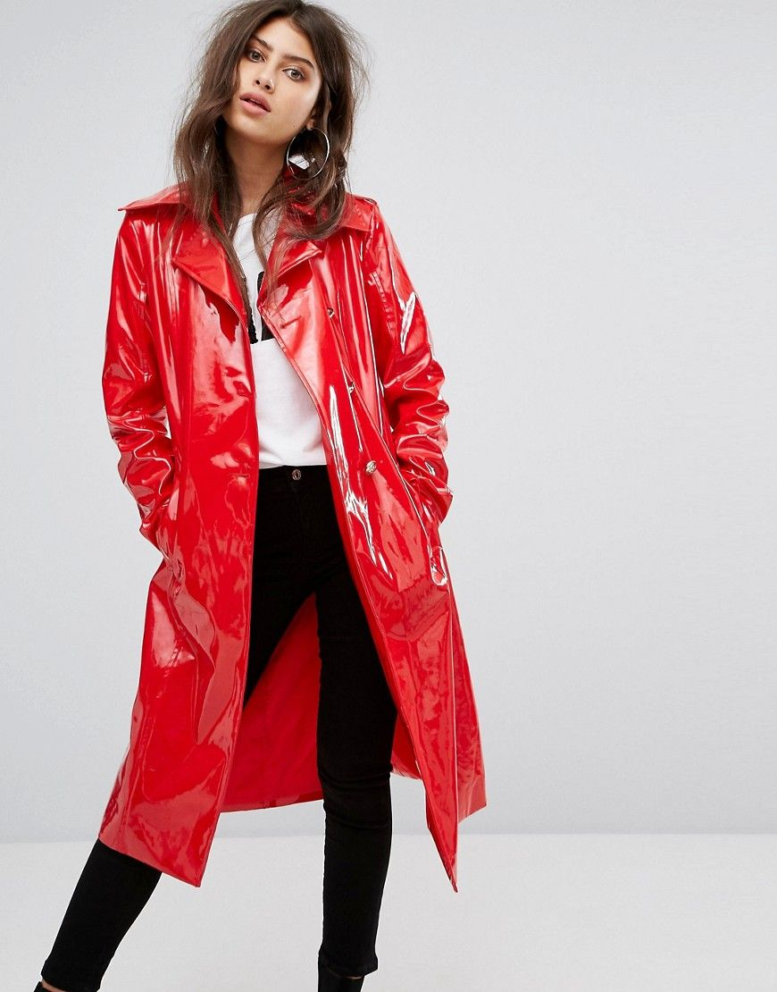 PrettyLittleThing Vinyl Trench Coat - Red
