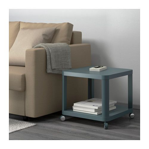Charming TINGBY Side Table On Casters, Turquoise Turquoise 19 5/8x19 5/8