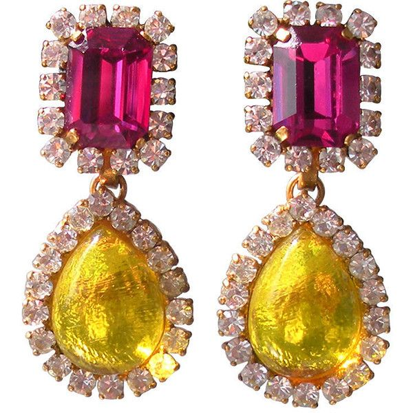 Chanel - Chanel Multi Color Gemstone Drop Earrings ❤ liked on Polyvore featuring jewelry, earrings, chanel, accessories, jewels, multi color earrings, gemstone earrings, tri color jewelry and colorful earrings