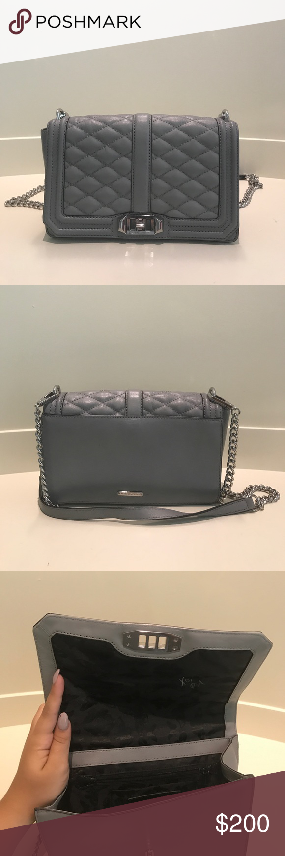 Rebecca Minkoff Over Shoulder Bag Perfect bag to dress up or dress down. It's a nice grey color and it can fit your wallet, your keys, and your favorite lipstick. Rebecca Minkoff Bags Shoulder Bags